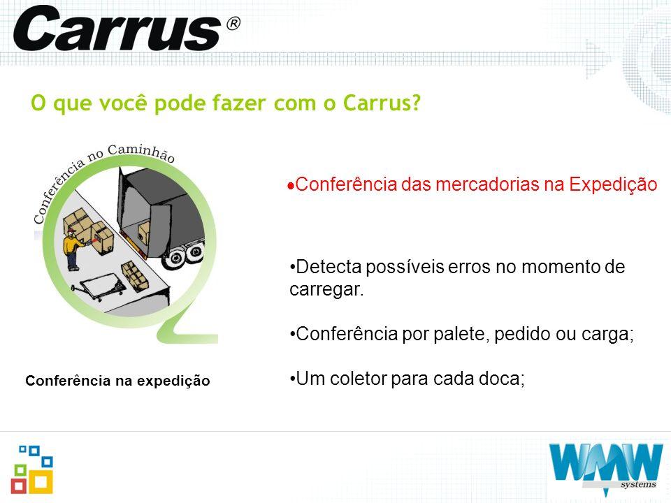 O que você pode fazer com o Carrus? Conferência das mercadorias na Expedição Conferência na expedição Detecta possíveis erros no momento de carregar.