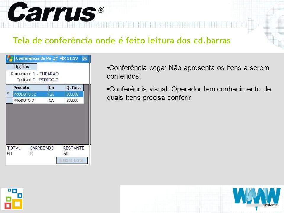 Tela de conferência onde é feito leitura dos cd.barras Conferência cega: Não apresenta os itens a serem conferidos; Conferência visual: Operador tem c