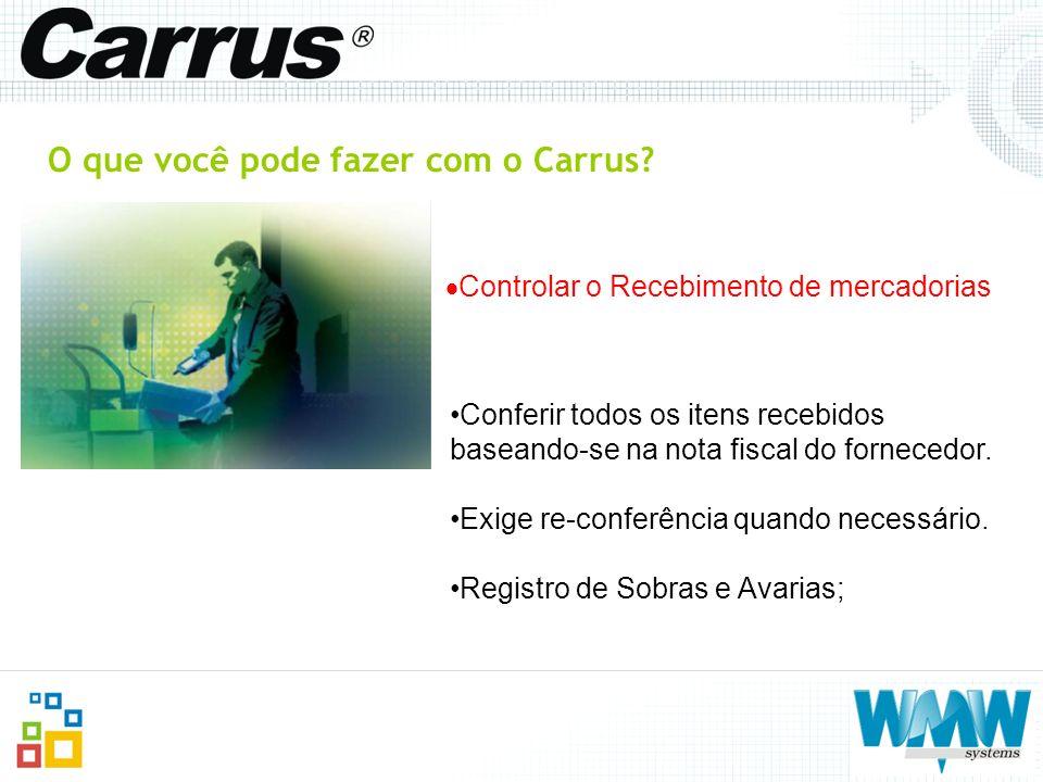 O que você pode fazer com o Carrus? Controlar o Recebimento de mercadorias Conferir todos os itens recebidos baseando-se na nota fiscal do fornecedor.
