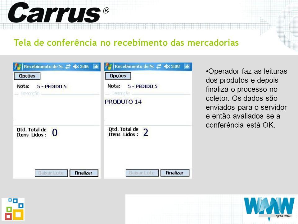 Tela de conferência no recebimento das mercadorias Operador faz as leituras dos produtos e depois finaliza o processo no coletor. Os dados são enviado