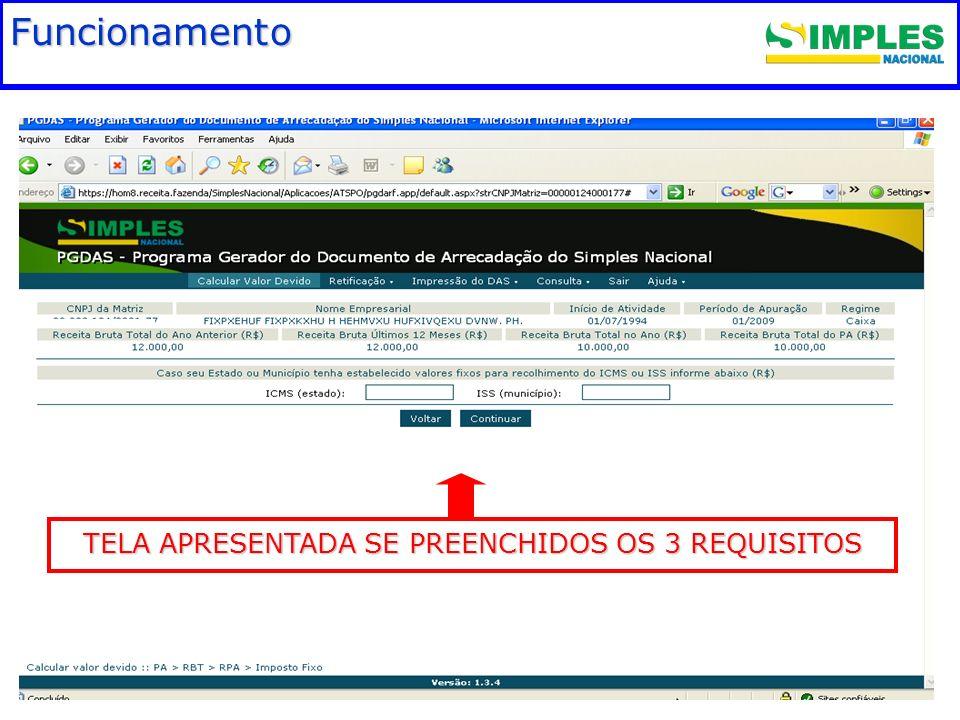 Funcionamento TELA APRESENTADA SE PREENCHIDOS OS 3 REQUISITOS