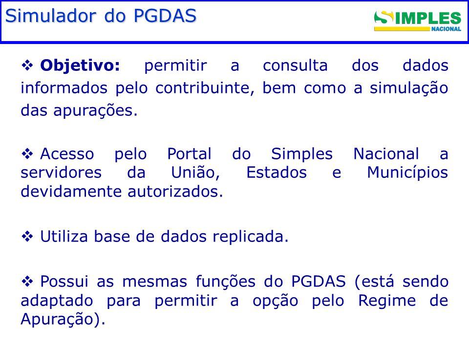 Objetivo: permitir a consulta dos dados informados pelo contribuinte, bem como a simulação das apurações. Acesso pelo Portal do Simples Nacional a ser