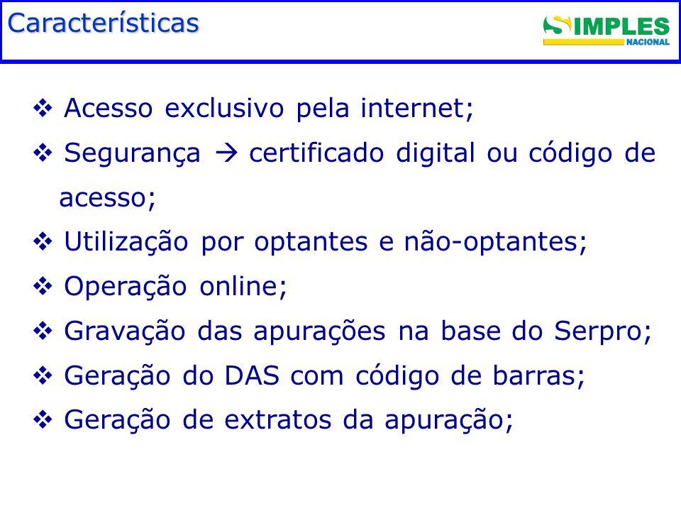 Fundamentação legal Acesso exclusivo pela internet; Segurança certificado digital ou código de acesso; Utilização por optantes e não-optantes; Operaçã