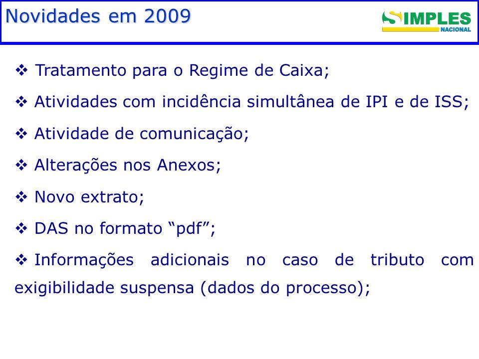 Fundamentação legal Tratamento para o Regime de Caixa; Atividades com incidência simultânea de IPI e de ISS; Atividade de comunicação; Alterações nos