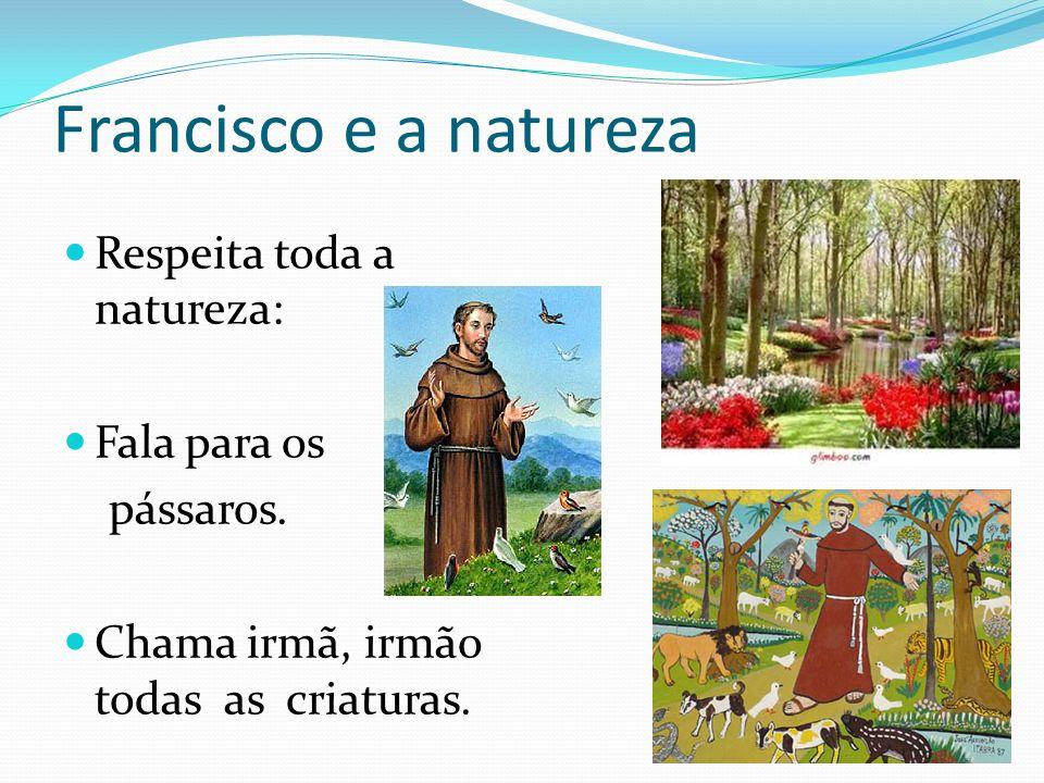 Francisco e a natureza Respeita toda a natureza: Fala para os pássaros. Chama irmã, irmão todas as criaturas.