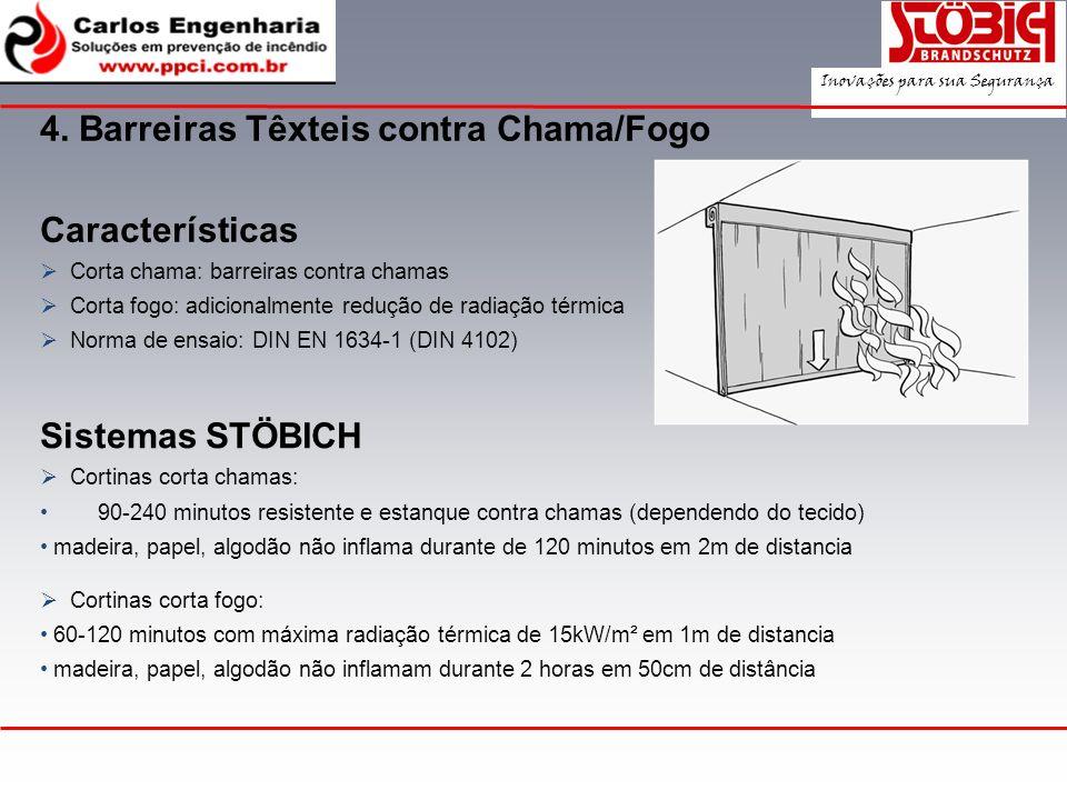 Características Corta chama: barreiras contra chamas Corta fogo: adicionalmente redução de radiação térmica Norma de ensaio: DIN EN 1634-1 (DIN 4102)