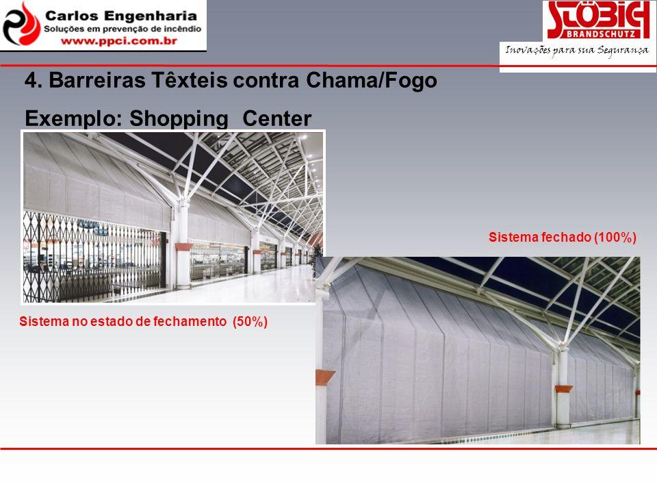 Exemplo: Shopping Center 4. Barreiras Têxteis contra Chama/Fogo Sistema no estado de fechamento (50%) Sistema fechado (100%) Inovações para sua Segura