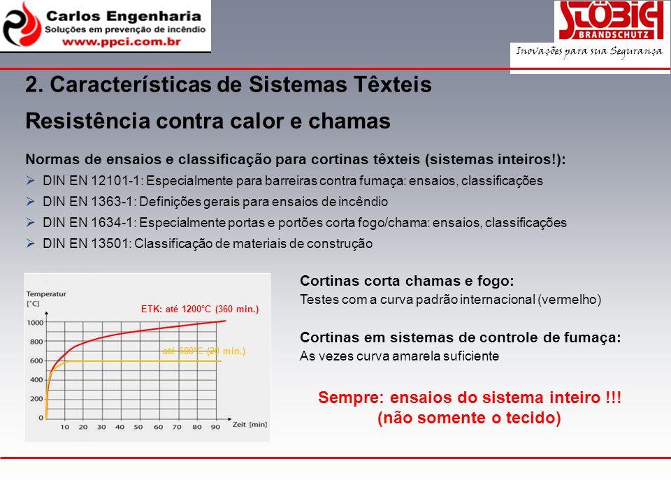 2. Características de Sistemas Têxteis Resistência contra calor e chamas Normas de ensaios e classificação para cortinas têxteis (sistemas inteiros!):