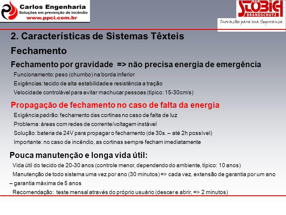 Fechamento por gravidade => não precisa energia de emergência Funcionamento: peso (chumbo) na borda inferior Exigências: tecido de alta estabilidade e