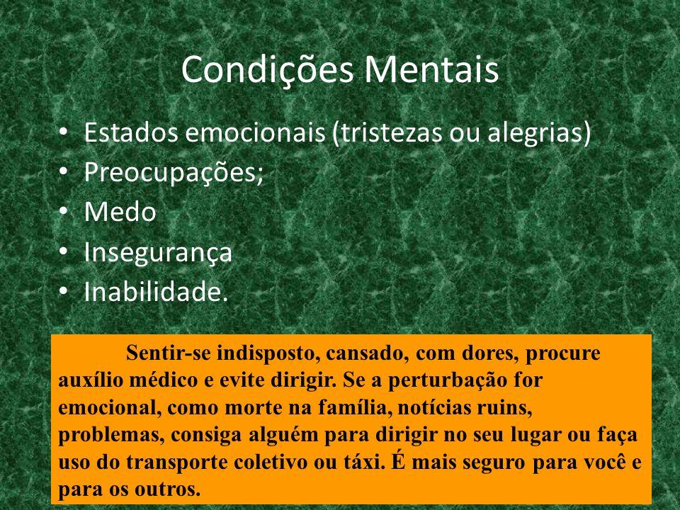 Condições Mentais Estados emocionais (tristezas ou alegrias) Preocupações; Medo Insegurança Inabilidade. Sentir-se indisposto, cansado, com dores, pro