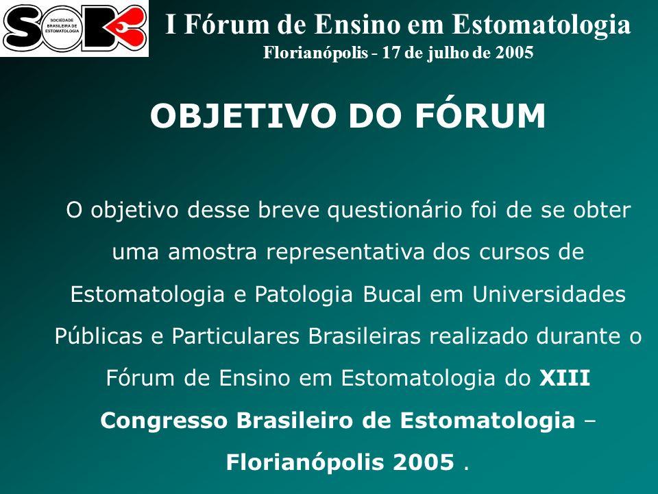 I Fórum de Ensino em Estomatologia Florianópolis - 17 de julho de 2005 8) O conteúdo da disciplina clínica (semiologia, diagnóstico, estomatologia e etc) é integrado e planejado em conjunto com a disciplina laboratorial (patologia bucal) e vice-versa.