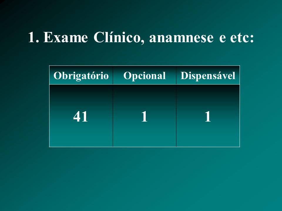 1. Exame Clínico, anamnese e etc: ObrigatórioOpcionalDispensável 4111