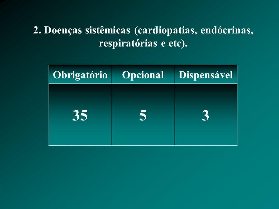 2.Doenças sistêmicas (cardiopatias, endócrinas, respiratórias e etc).