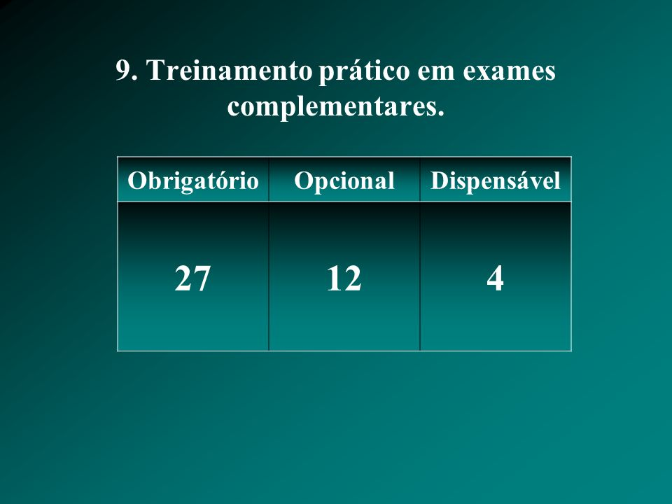 9. Treinamento prático em exames complementares. ObrigatórioOpcionalDispensável 27124