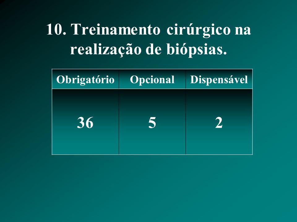 10. Treinamento cirúrgico na realização de biópsias. ObrigatórioOpcionalDispensável 3652