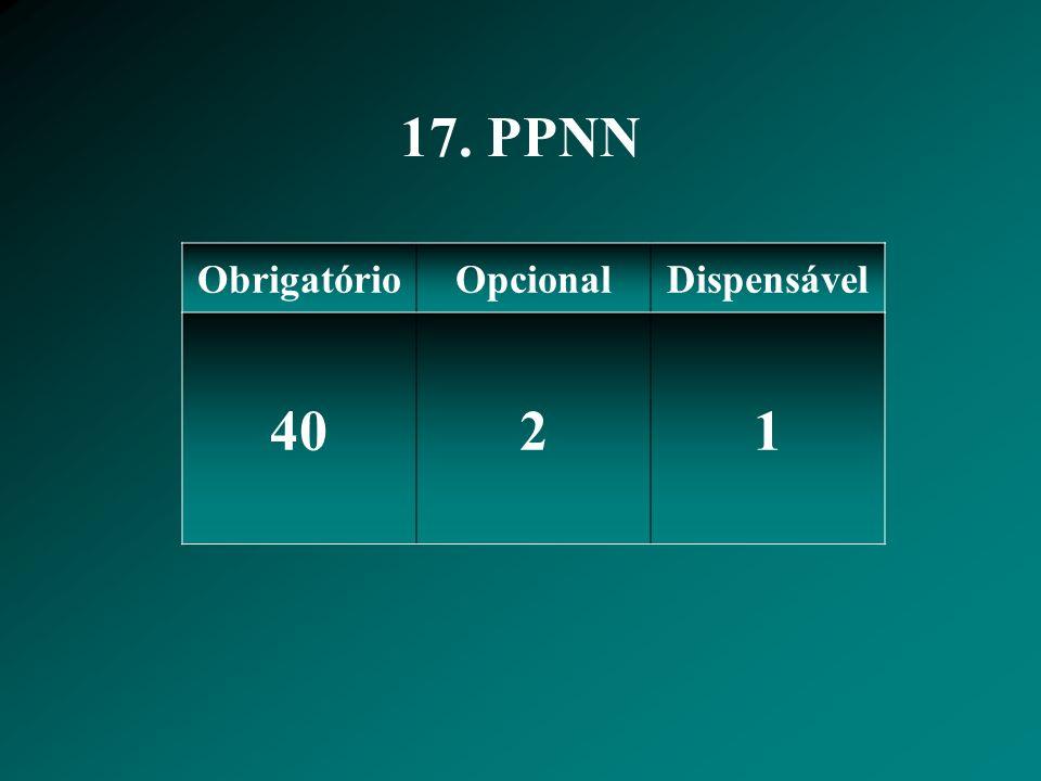 17. PPNN ObrigatórioOpcionalDispensável 4021