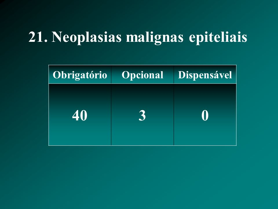21. Neoplasias malignas epiteliais ObrigatórioOpcionalDispensável 4030