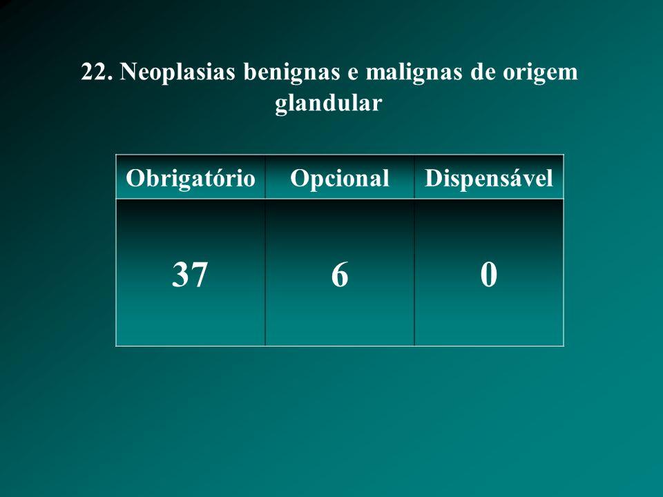 22. Neoplasias benignas e malignas de origem glandular ObrigatórioOpcionalDispensável 3760