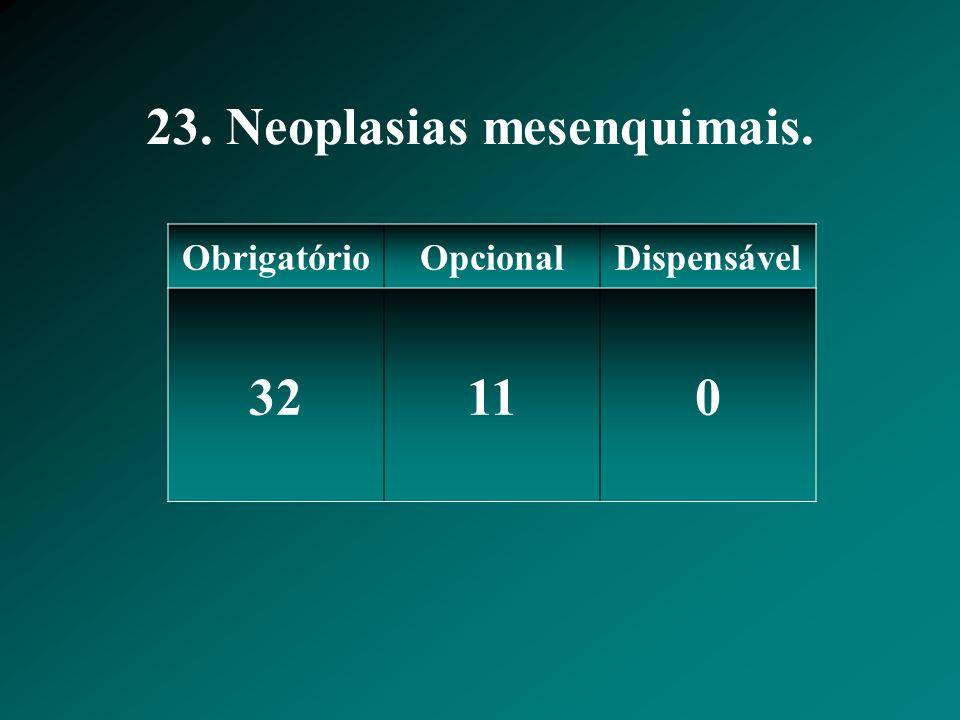 23. Neoplasias mesenquimais. ObrigatórioOpcionalDispensável 32110