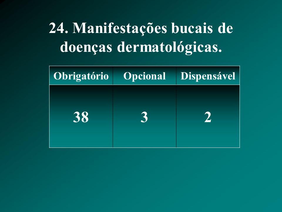 24. Manifestações bucais de doenças dermatológicas. ObrigatórioOpcionalDispensável 3832