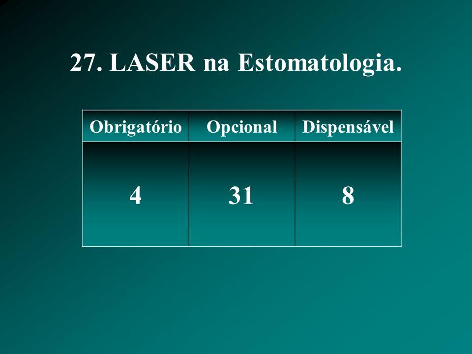 27. LASER na Estomatologia. ObrigatórioOpcionalDispensável 4318