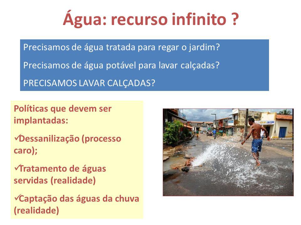 Água: recurso infinito ? Precisamos de água tratada para regar o jardim? Precisamos de água potável para lavar calçadas? PRECISAMOS LAVAR CALÇADAS? Po