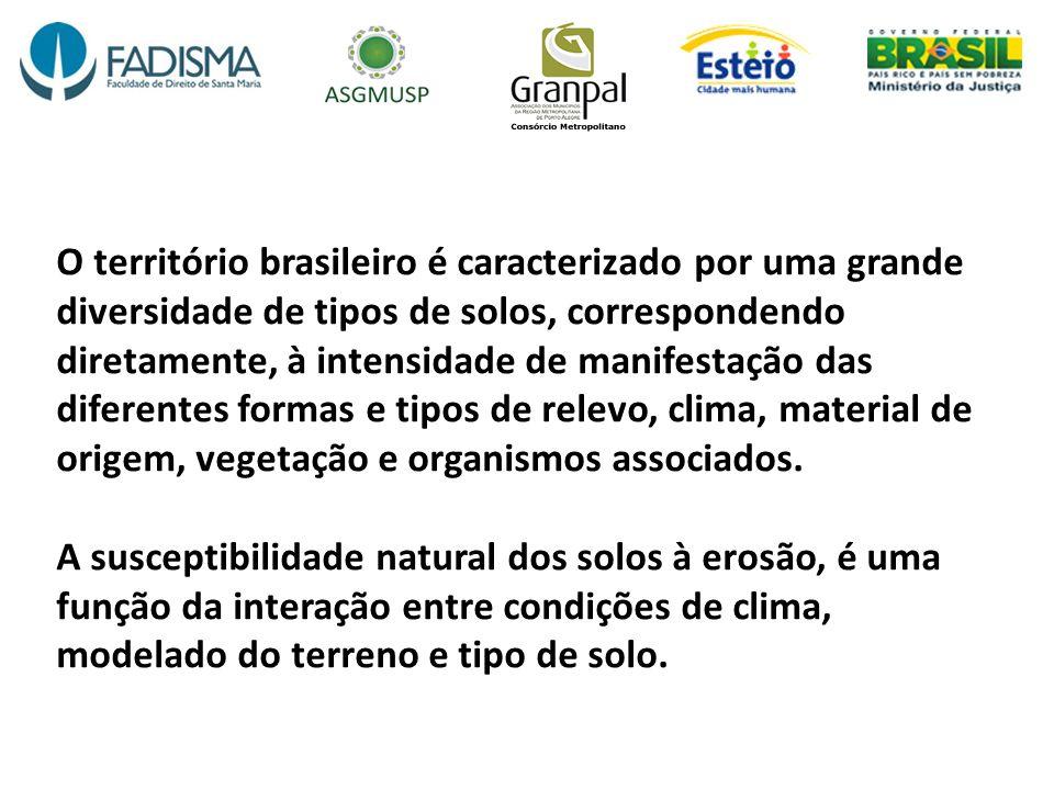 O território brasileiro é caracterizado por uma grande diversidade de tipos de solos, correspondendo diretamente, à intensidade de manifestação das di