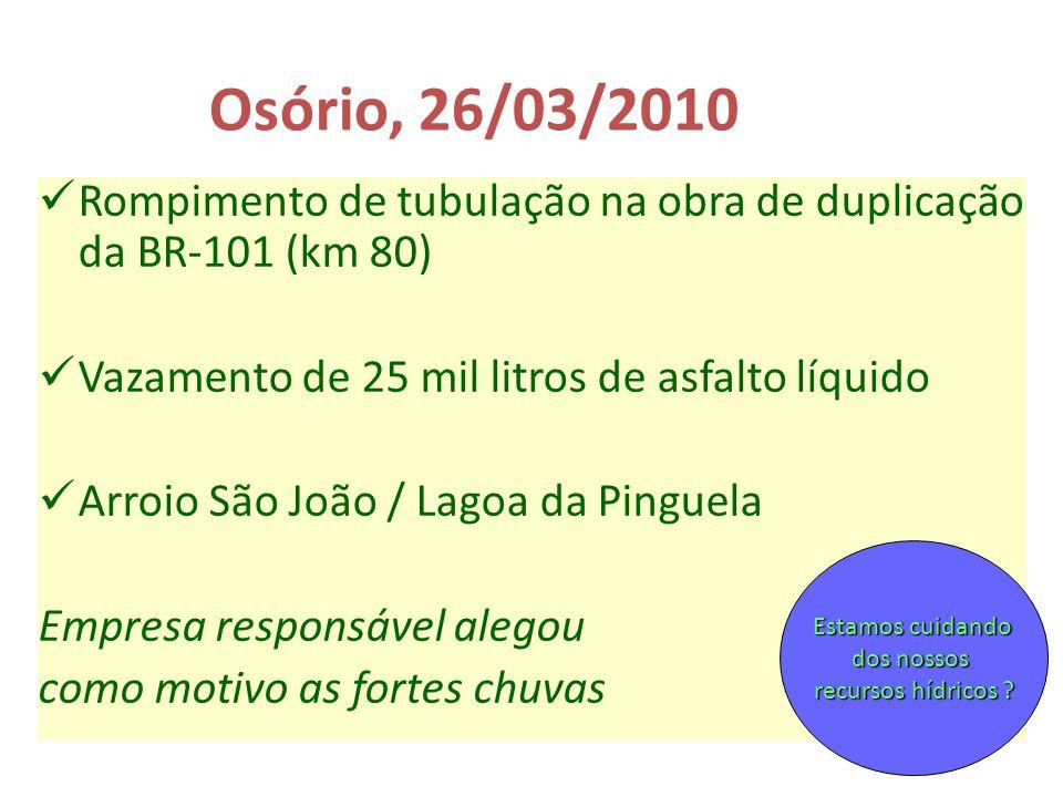 Osório, 26/03/2010 Rompimento de tubulação na obra de duplicação da BR-101 (km 80) Vazamento de 25 mil litros de asfalto líquido Arroio São João / Lag