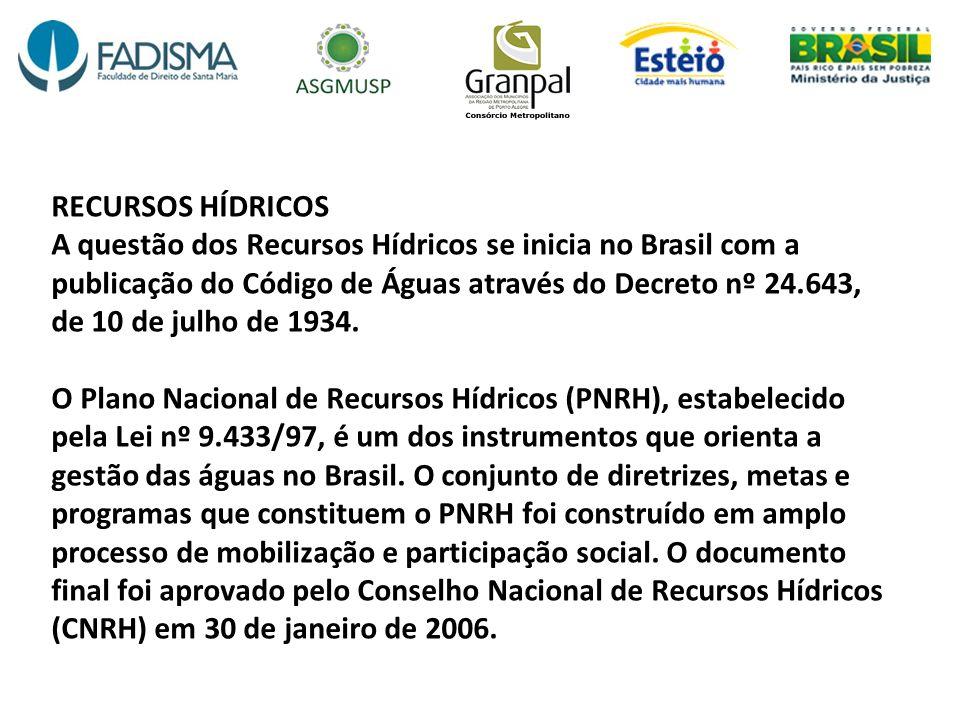 RECURSOS HÍDRICOS A questão dos Recursos Hídricos se inicia no Brasil com a publicação do Código de Águas através do Decreto nº 24.643, de 10 de julho