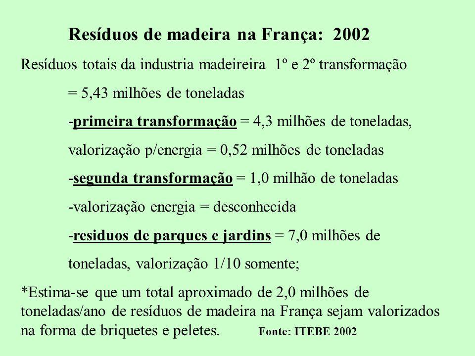 11 Resíduos de madeira na França: 2002 Resíduos totais da industria madeireira 1º e 2º transformação = 5,43 milhões de toneladas -primeira transformaç