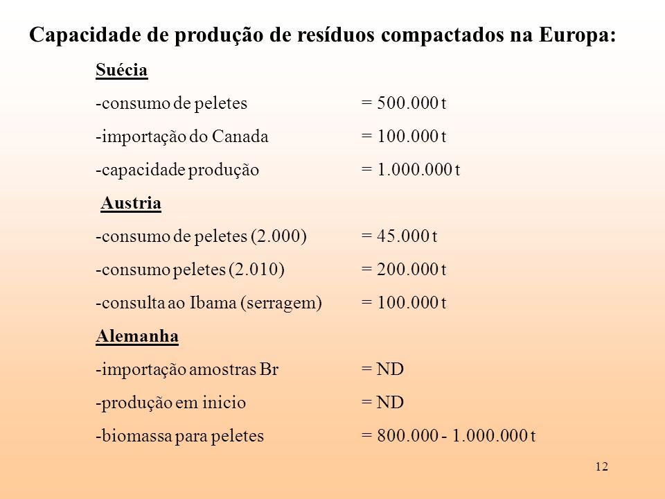 12 Capacidade de produção de resíduos compactados na Europa: Suécia -consumo de peletes = 500.000 t -importação do Canada= 100.000 t -capacidade produ