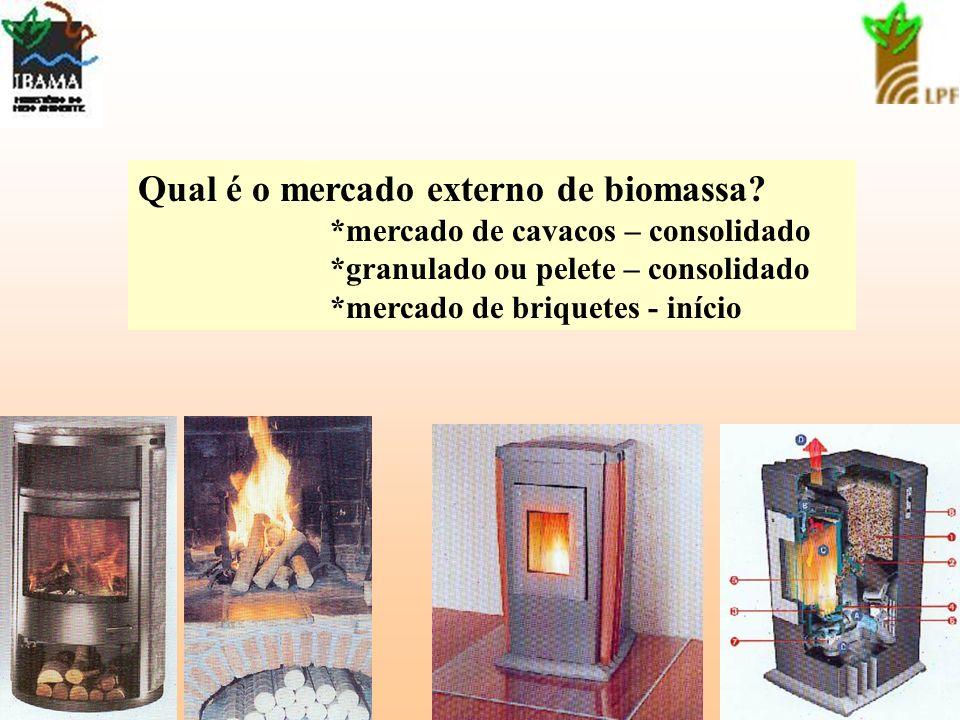 13 Qual é o mercado externo de biomassa? *mercado de cavacos – consolidado *granulado ou pelete – consolidado *mercado de briquetes - início
