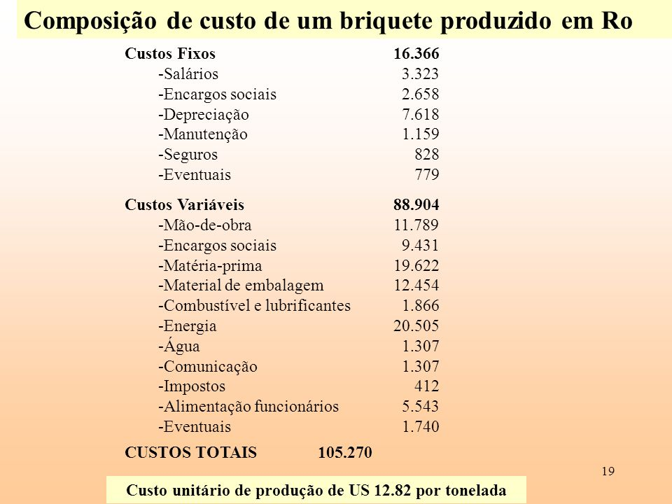 19 Composição de custo de um briquete produzido em Ro Custos Fixos16.366 -Salários 3.323 -Encargos sociais 2.658 -Depreciação 7.618 -Manutenção 1.159