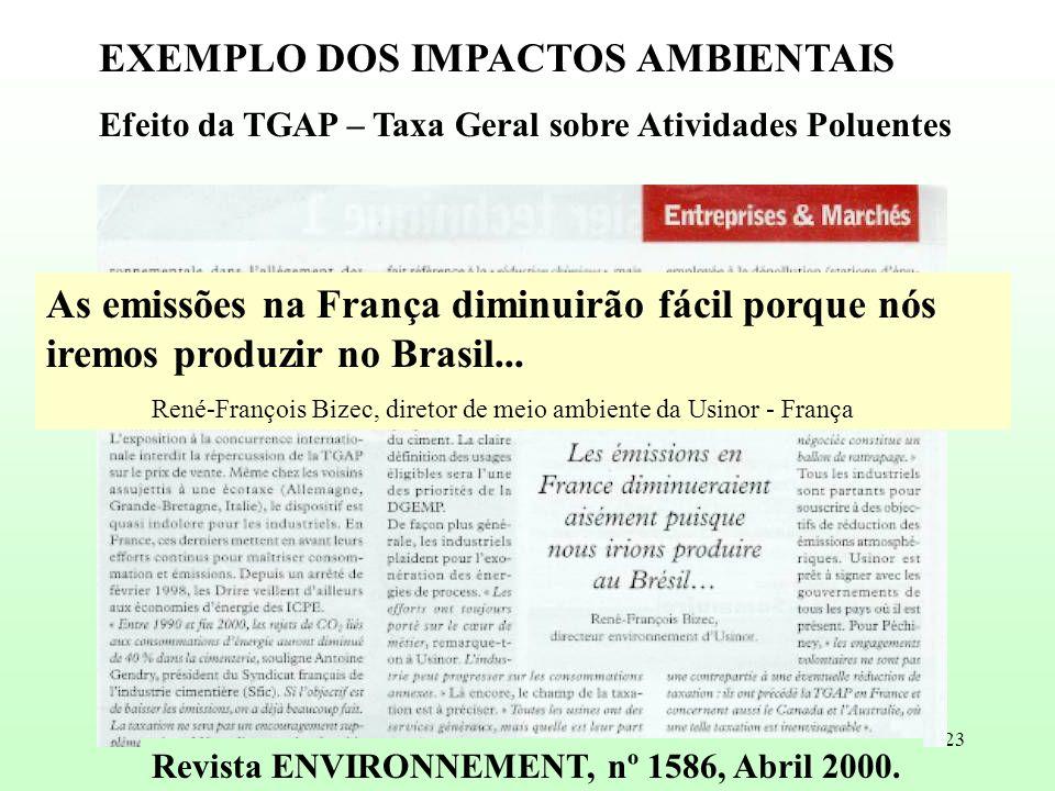 23 As emissões na França diminuirão fácil porque nós iremos produzir no Brasil... René-François Bizec, diretor de meio ambiente da Usinor - França EXE