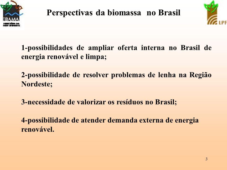 3 Perspectivas da biomassa no Brasil 1-possibilidades de ampliar oferta interna no Brasil de energia renovável e limpa; 2-possibilidade de resolver pr