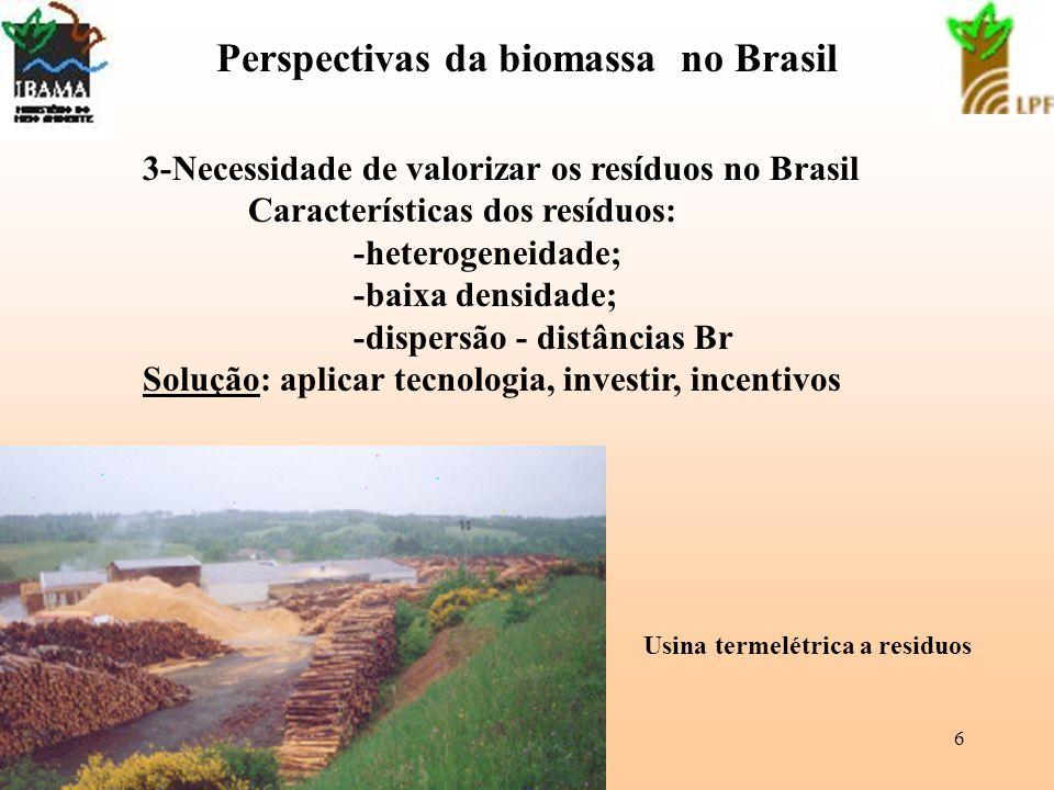 6 Perspectivas da biomassa no Brasil 3-Necessidade de valorizar os resíduos no Brasil Características dos resíduos: -heterogeneidade; -baixa densidade