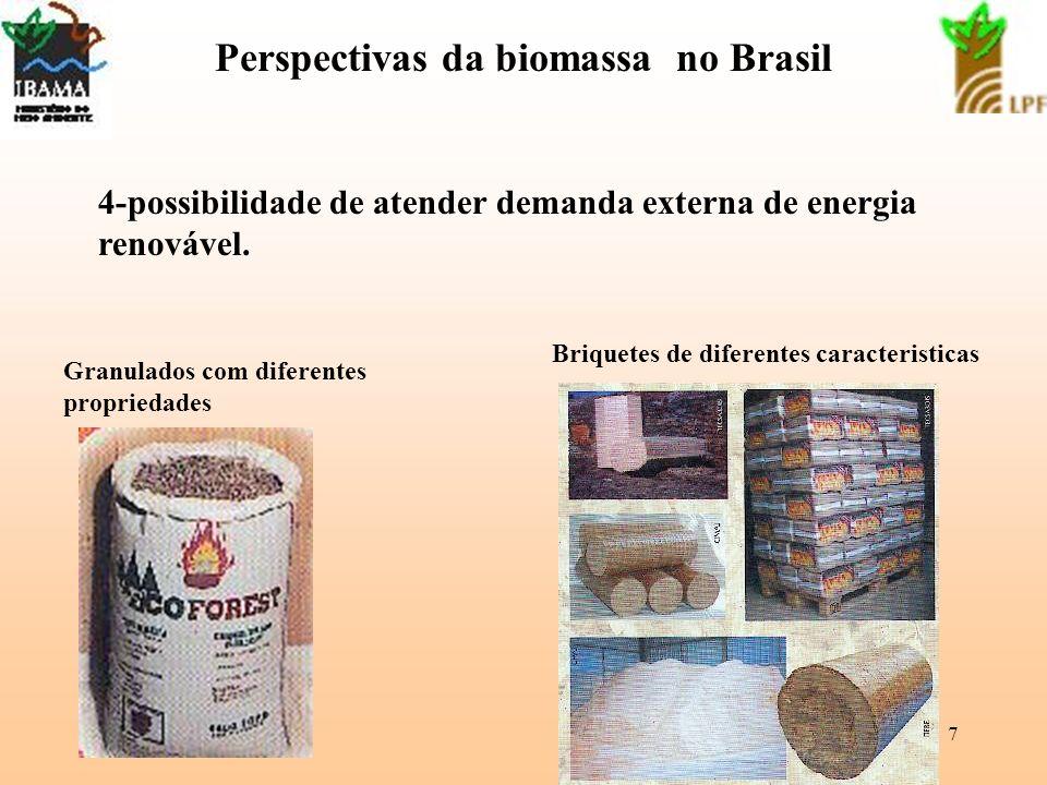 7 Perspectivas da biomassa no Brasil 4-possibilidade de atender demanda externa de energia renovável. Briquetes de diferentes caracteristicas Granulad