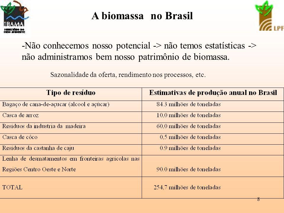 8 A biomassa no Brasil -Não conhecemos nosso potencial -> não temos estatísticas -> não administramos bem nosso patrimônio de biomassa. Sazonalidade d