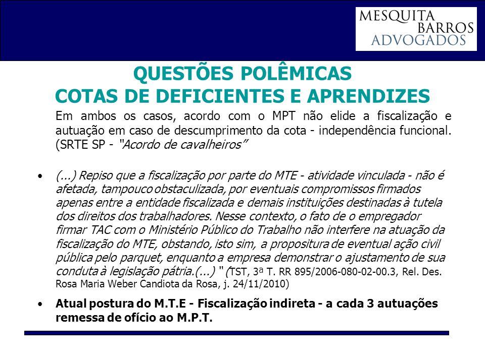 QUESTÕES POLÊMICAS COTAS DE DEFICIENTES E APRENDIZES Em ambos os casos, acordo com o MPT não elide a fiscalização e autuação em caso de descumprimento