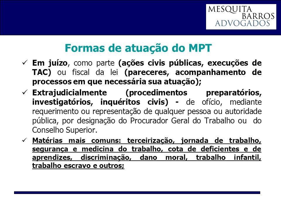 Formas de atuação do MPT Em juízo, como parte (ações civis públicas, execuções de TAC) ou fiscal da lei (pareceres, acompanhamento de processos em que