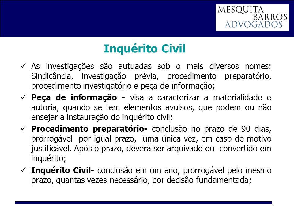 Inquérito Civil As investigações são autuadas sob o mais diversos nomes: Sindicância, investigação prévia, procedimento preparatório, procedimento inv