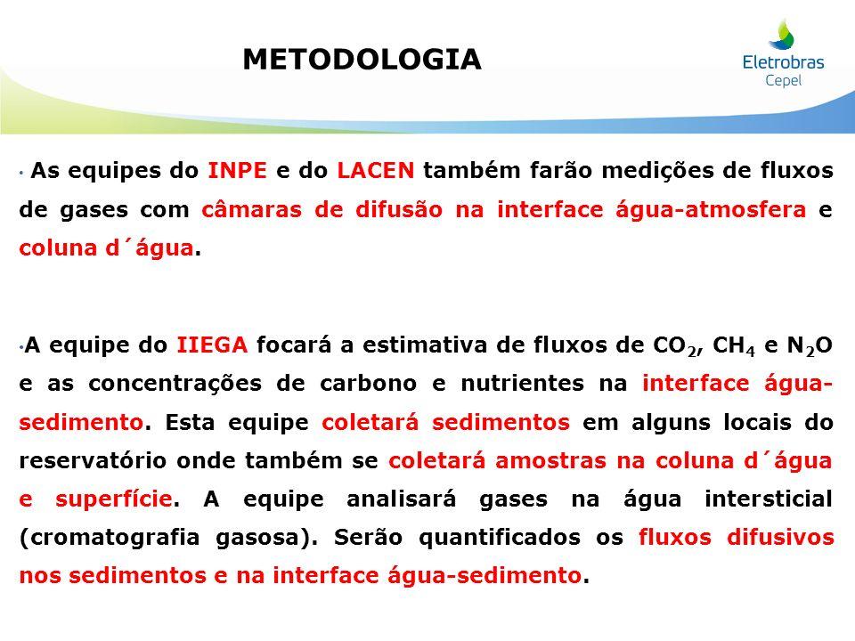 As equipes do INPE e do LACEN também farão medições de fluxos de gases com câmaras de difusão na interface água-atmosfera e coluna d´água. A equipe do