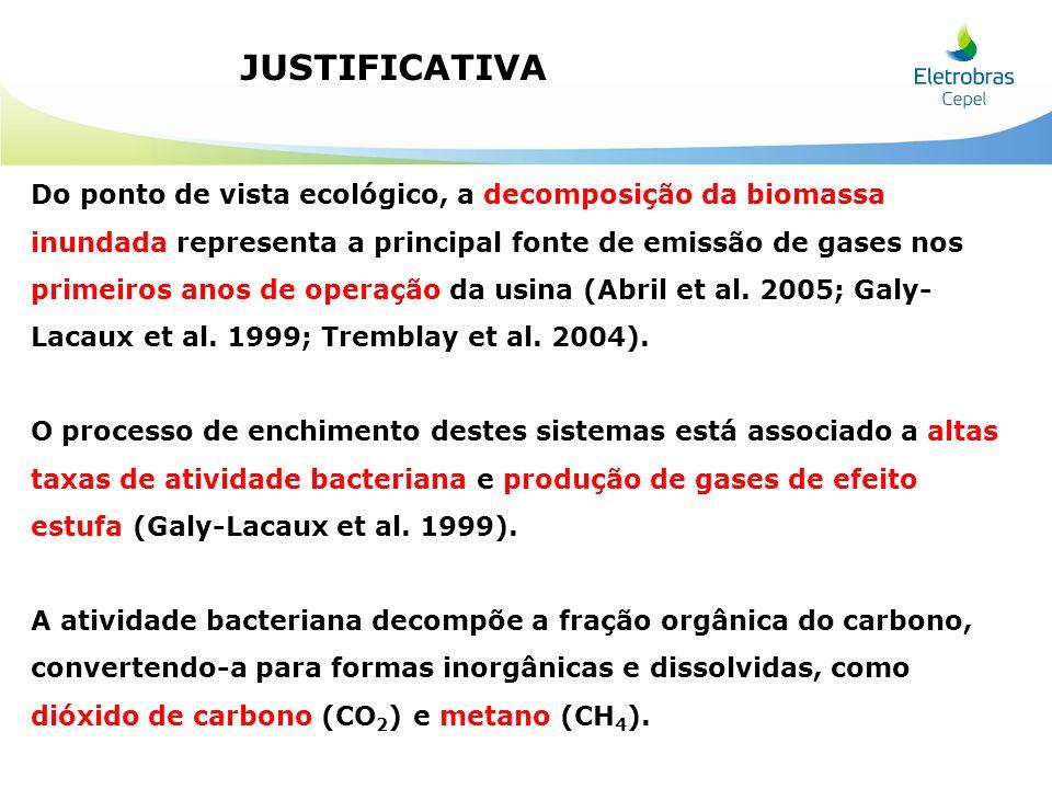 JUSTIFICATIVA Do ponto de vista ecológico, a decomposição da biomassa inundada representa a principal fonte de emissão de gases nos primeiros anos de