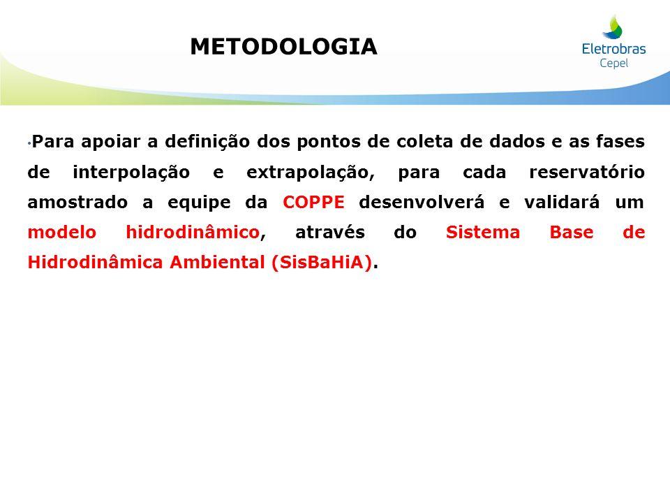 Para apoiar a definição dos pontos de coleta de dados e as fases de interpolação e extrapolação, para cada reservatório amostrado a equipe da COPPE de