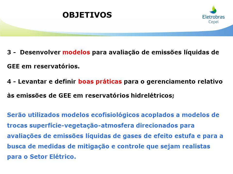 3 - Desenvolver modelos para avaliação de emissões líquidas de GEE em reservatórios. 4 - Levantar e definir boas práticas para o gerenciamento relativ