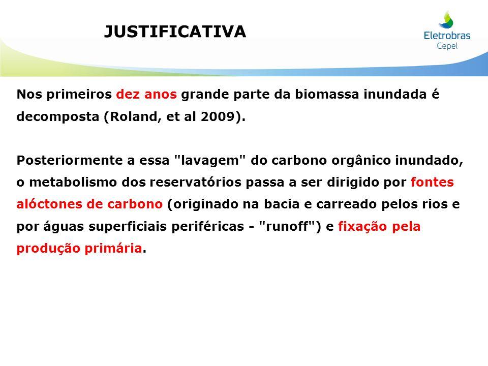 JUSTIFICATIVA Nos primeiros dez anos grande parte da biomassa inundada é decomposta (Roland, et al 2009). Posteriormente a essa