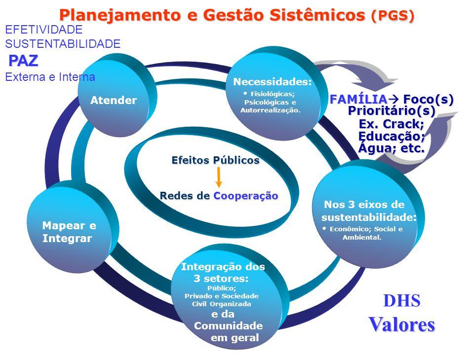 FAMÍLIA Foco(s) Prioritário(s) Ex. Crack; Educação; Água; etc. Planejamento e Gestão Sistêmicos (PGS) Integração dos 3 setores e da Comunidade em gera