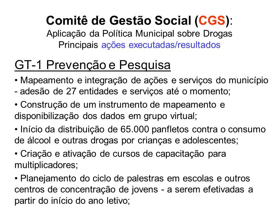 Comitê de Gestão Social (CGS): Aplicação da Política Municipal sobre Drogas Principais ações executadas/resultados GT-1 Prevenção e Pesquisa Mapeament