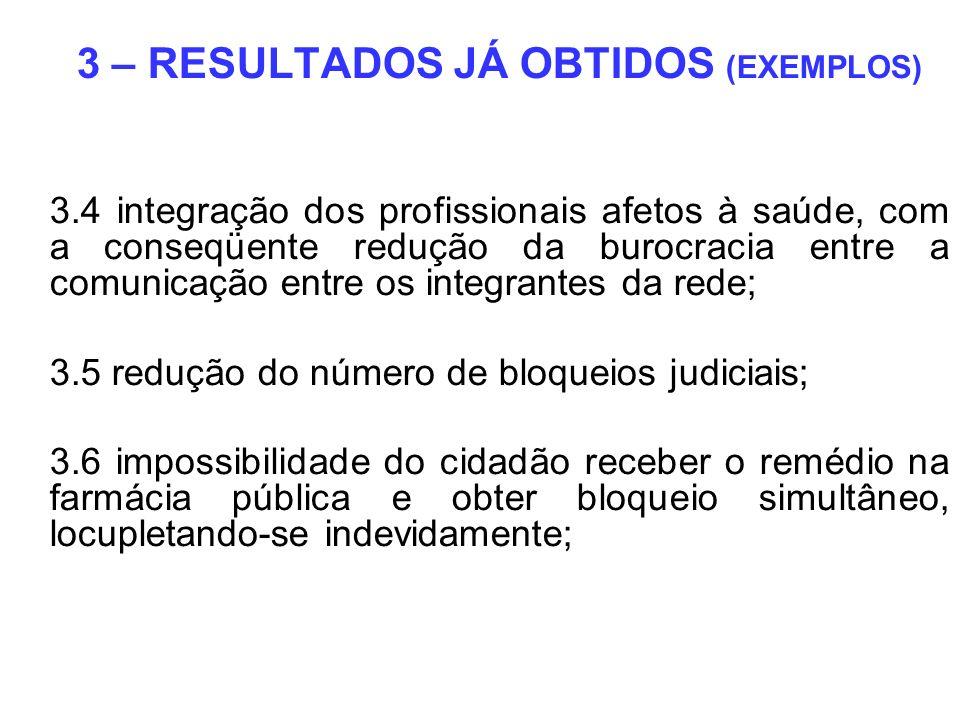 3 – RESULTADOS JÁ OBTIDOS (EXEMPLOS) 3.4 integração dos profissionais afetos à saúde, com a conseqüente redução da burocracia entre a comunicação entr