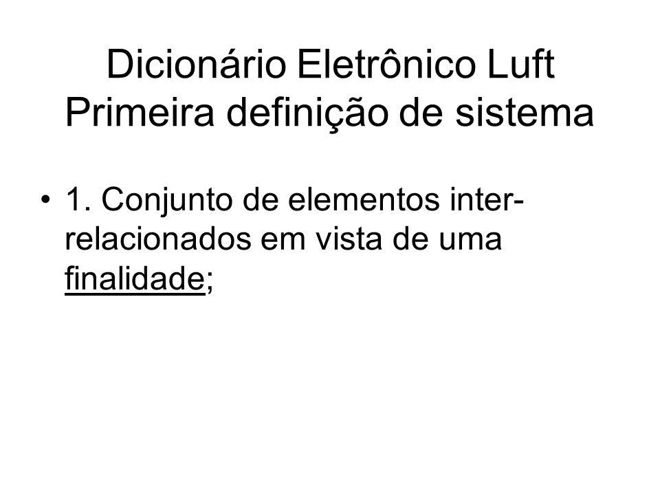 Dicionário Eletrônico Luft Primeira definição de sistema 1. Conjunto de elementos inter- relacionados em vista de uma finalidade;